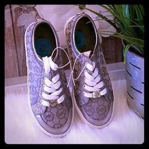 Michael kors silver Mk signature shoes